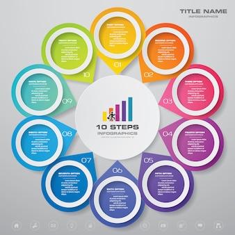 10 steps simple&editable process chart. eps 10.