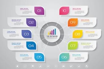 10 steps simple & editable process chart infographics element.