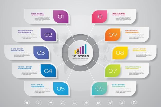 10 단계 간단하고 편집 가능한 프로세스 차트 인포 그래픽 요소.