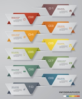 10 steps simple & editable process chart infographics element.