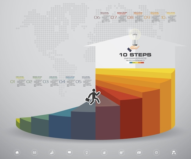 10 steps staircase infographic element chart.