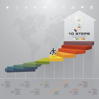 10 steps staircase infographic element for presentation.