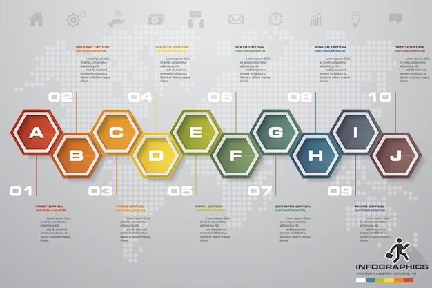 10 steps timeline infographic element for presentation