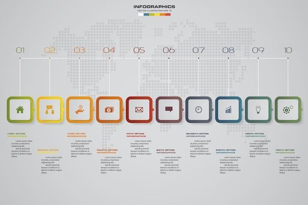 10 steps timeline infographic element.