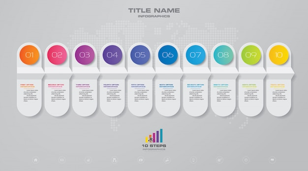 10 steps timeline infographic element.