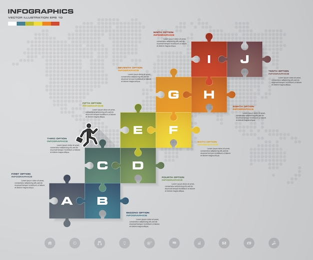 10 steps timeline jigzaw infographic element.