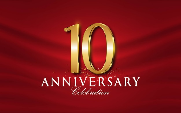 10 th years of anniversary numbers in golden style