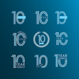 10 year anniversary celebrate set vector template design
