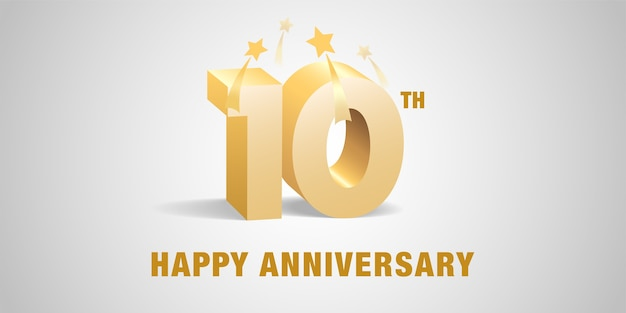 10 years anniversary 3d  template banner,