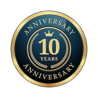 10年周年記念バッジクラウン月桂樹の花輪光沢のあるダークブルーメタリックゴールドラウンドロゴ