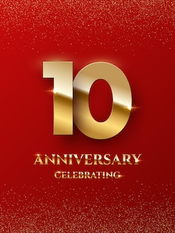 10 years anniversary celebrating design with golden color isolated on red background