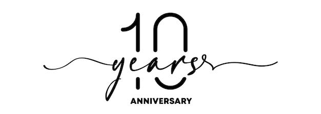 10주년 기념 엠블럼. 기념일 배지 또는 레이블입니다. 10번째 축하 및 축하 디자인 요소입니다. 한 줄 스타일. 벡터 eps 10입니다. 배경에 고립.