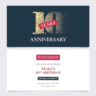 10 years anniversary invitation, 10th anniversary party or dinner invite with body copy