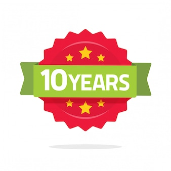 10 years anniversary logo template with green ribbon and number rosette