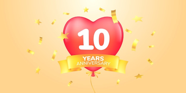 10 years anniversary vector logo icon template banner symbol with heart shape air hot balloon for 10th anniversary greeting card