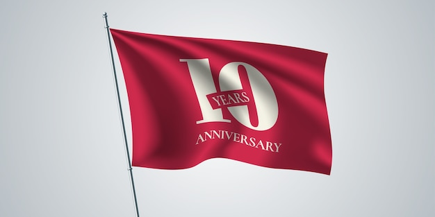 10 years anniversary with waving flag for 10th anniversary