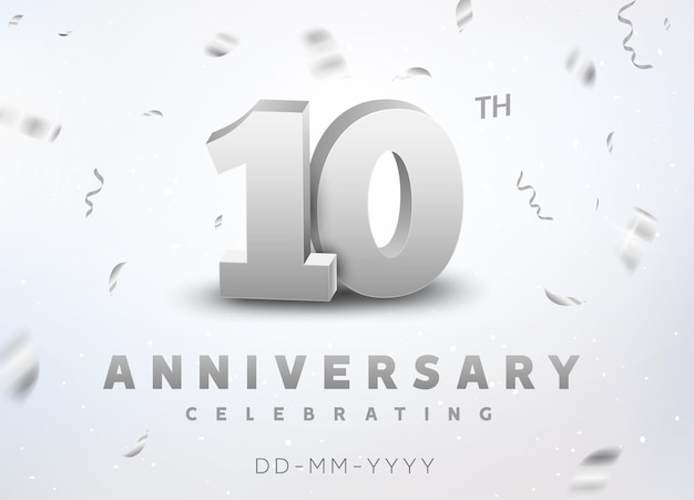 10 years silver number anniversary celebration event. anniversary banner ceremony design for 10 age.