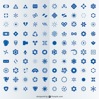 100 abstract logos set
