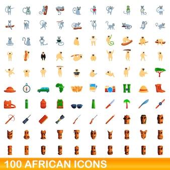 Набор 100 африканских иконок. карикатура иллюстрации 100 африканских векторных иконок, изолированные на белом фоне