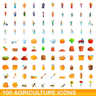100 농업 아이콘을 설정합니다. 100 농업 아이콘의 만화 그림에 격리 된 흰색 배경을 설정합니다