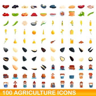 Набор 100 иконок сельского хозяйства. карикатура иллюстрации 100 векторных иконок сельского хозяйства набор, изолированные на белом фоне