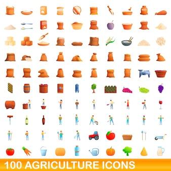 Набор 100 иконок сельского хозяйства. карикатура иллюстрации 100 сельскохозяйственных иконок векторный набор, изолированные на белом фоне