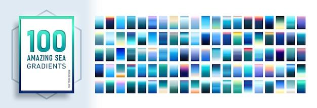 100 amazing sea gradients background set.