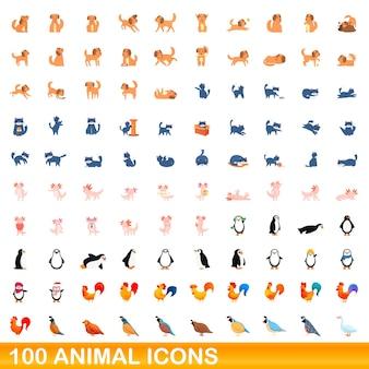100 animal icons set. cartoon illustration of 100 animal icons set isolated