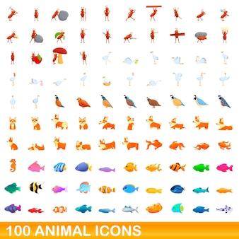 100 동물 아이콘을 설정합니다. 100 동물 아이콘의 만화 그림에 격리 된 흰색 배경을 설정합니다