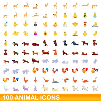 Набор 100 иконок животных. карикатура иллюстрации набора 100 животных иконок, изолированные на белом фоне