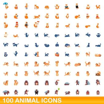 100匹の動物アイコンが設定されています。分離された100の動物アイコンセットの漫画イラスト