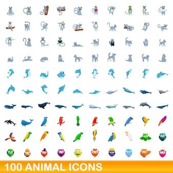 Набор 100 иконок животных. карикатура иллюстрации 100 набор иконок животных изолированы