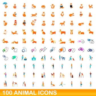 Набор 100 иконок животных. карикатура иллюстрации 100 векторных иконок животных набор, изолированные на белом фоне