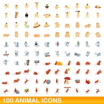 100 동물 아이콘을 설정합니다. 100 동물 아이콘 벡터 세트의 만화 그림 흰색 배경에 고립