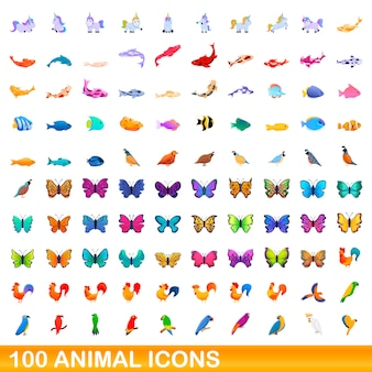 Набор 100 иконок животных, мультяшном стиле