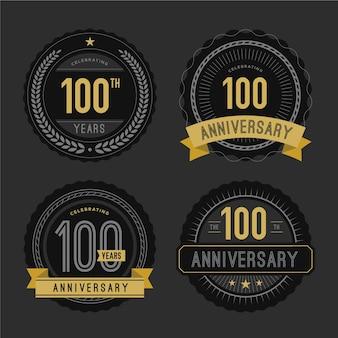 Collezione di badge per 100 anni