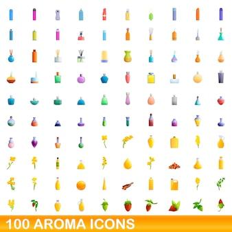 100 아로마 아이콘을 설정합니다. 100 아로마 아이콘 벡터 세트의 만화 그림 흰색 배경에 고립