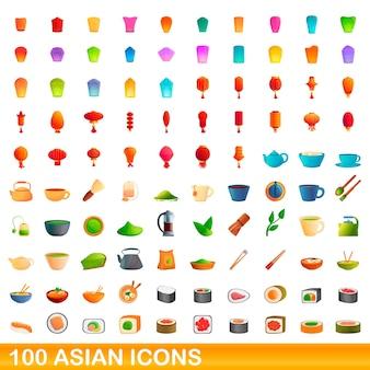 Набор 100 азиатских иконок. изолированные иллюстрации шаржа 100 азиатских иконок