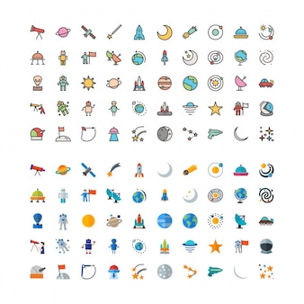 100 Astronomy Linefilled and flat Icons Set