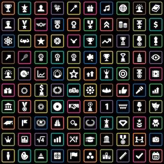 100 award icons big universal set