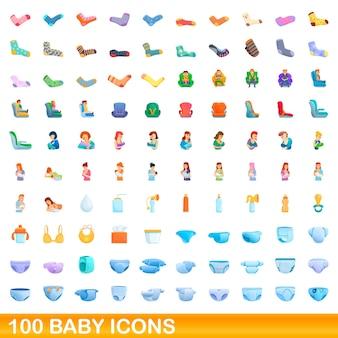 100 아기 아이콘을 설정합니다. 100 아기 아이콘의 만화 그림 격리 설정