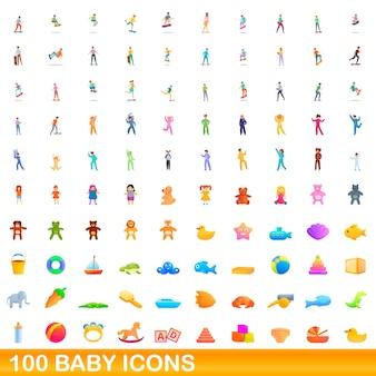 100 아기 아이콘을 설정합니다. 100 아기 아이콘 벡터 세트의 만화 그림 흰색 배경에 고립