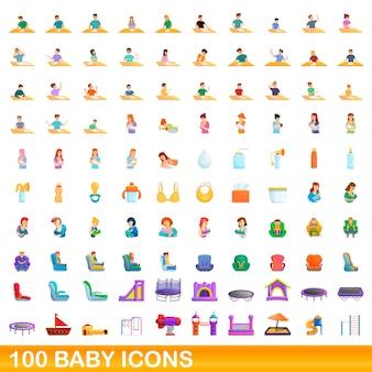 100個の赤ちゃんアイコンが設定されています。白い背景で隔離の100の赤ちゃんアイコンベクトルセットの漫画イラスト