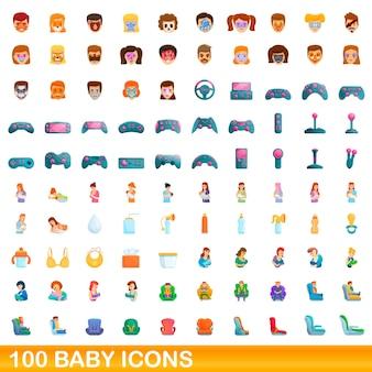 Набор 100 детских иконок. карикатура иллюстрации 100 детских иконок векторный набор, изолированные на белом фоне