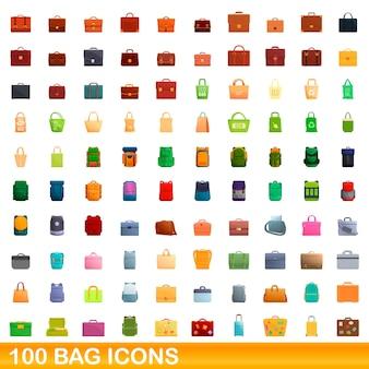 100 bag icons set. cartoon illustration of 100 bag icons set isolated
