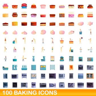 베이킹 세트 100 개. 100 베이킹 세트의 만화 그림 흰색 배경에 고립