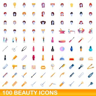 100개의 뷰티 아이콘이 설정되었습니다. 100 아름다움 아이콘의 만화 그림 격리 설정