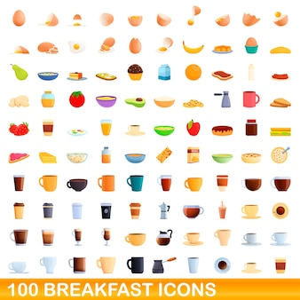 100 breakfast icons set. cartoon illustration of 100 breakfast icons  set isolated on white background
