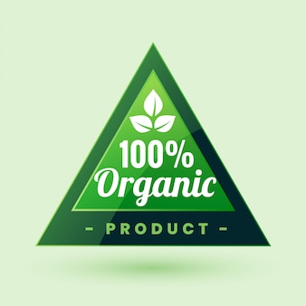 100% certified organic product green label or sticker design