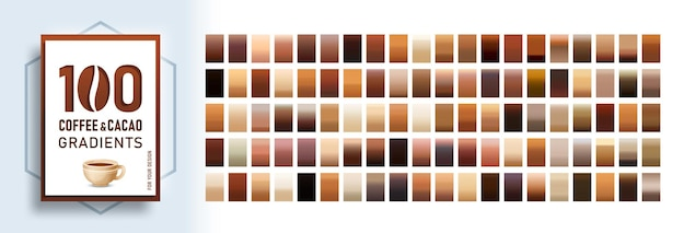 100 coffee and cacao gradients background set